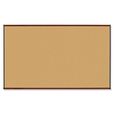 Natural Cork Board, 4' x 3', Mahogany Finish