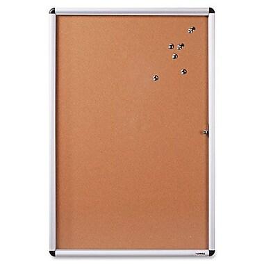 Babillard fermé en liège, 24 x 36 po, naturel/cadre en aluminium