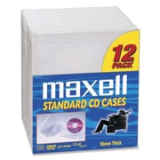 Maxell Replacement Jewel Cases, CD/DVD, 12/Pack, Clear