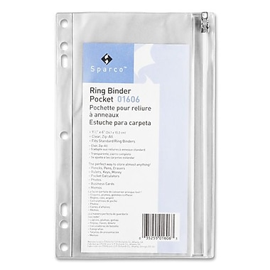 Sparco Ring Binder Pocket, w/ Zipper, Vinyl, Hole Punched, 9-1/2