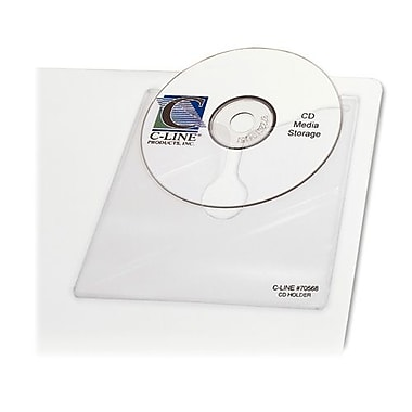 C-Line Self Adhesive CD/DVD Holder, Reduced Glare, Clear, 10/Pack