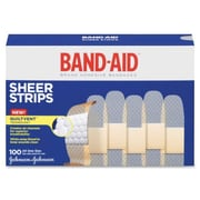 "Johnson & Johnson Band-Aid Refill, Adhesive Bandages, One Size, 3/4"", Sheer, 100/Box"