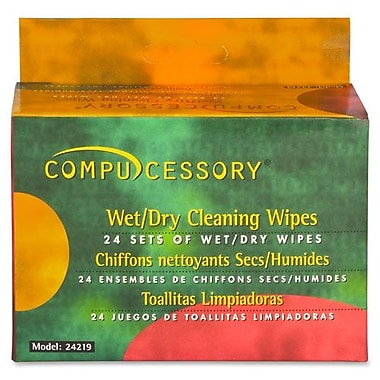 Compucessory Screen Cleaner Wipes, Wet/Dry Twin Pack, 24 Sets/Pack