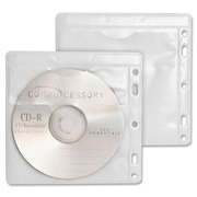 Compucessory CD/DVD Sleeves, Hole Punched, White/Clear, 100/Pack