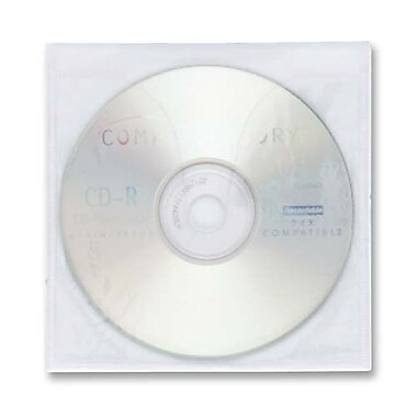 Compucessory Self-Adhesive CD Holders, Polypropylene, White, 10/Pack