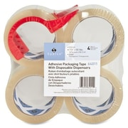 """Sparco Packing Tape with Dispenser, 3"""" Core, 3.0mil, 2"""" x 55 Yards, 4/Pack, Clear"""