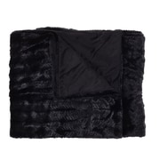 Sweet Home Collection Rib Decorative Reversible Faux Fur and Mink Throw Blanket; Black