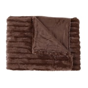 Sweet Home Collection Rib Decorative Reversible Faux Fur and Mink Throw Blanket; Chocolate