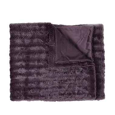 Sweet Home Collection Rib Decorative Reversible Faux Fur and Mink Throw Blanket; Plum