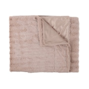 Sweet Home Collection Rib Decorative Reversible Faux Fur and Mink Throw Blanket; Taupe