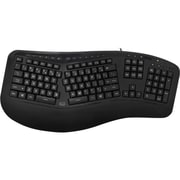 Adesso  Tru-Form 150 USB Wired 3-Color Illuminated Ergonomic Keyboard, Black