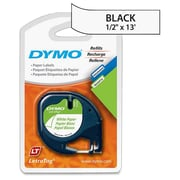 "Dymo LetraTag 10697 1/2"" Paper Label, Black On White, 2/Pack"