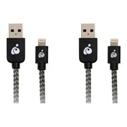 Iogear Charge & Sync Pro 6.5'/9.8' USB to Lightning Data Transfer Cable Kit, Black