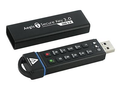Apricorn Secure Key 3.0 60GB 162 Mbps Write/195 Mbps Read USB 3.0 Flash Drive, Black
