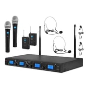 Pyle Pro Premier PDWM4350U 4 Channel Microphone System, Wireless, Black