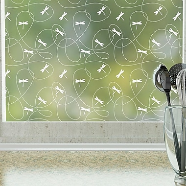 Odhams Press Dragonflies Privacy Window Film; 48 H X 36 W