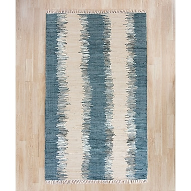 Brayden Studio Portsmouth Hand Woven Cotton Blue/Ivory Area Rug; 8' x 10'