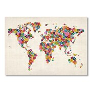 Americanflat World Map Flowers Wall Mural; 18'' H x 24'' W