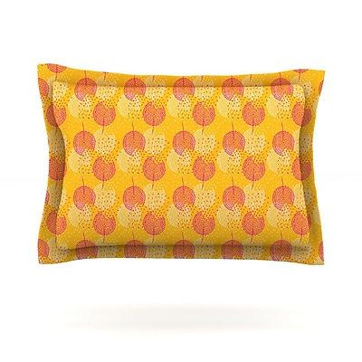 KESS InHouse Apple Kaur Designs ''Wild Summer Dandelions'' Gold Circles Featherweight Sham; Standard