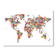 Americanflat World Map Flowers Wall Mural; 12'' H x 18'' W