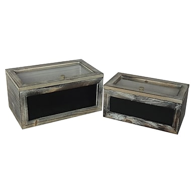 Cheungs 2 Piece Wooden Box w/ Glass Lid and Front Chalkboard Set; Brown