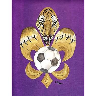 Caroline's Treasures Tiger Soccer Fleur de lis 2-Sided Garden Flag