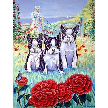 Caroline's Treasures Boston Terrier Three in a Row 2-Sided Garden Flag