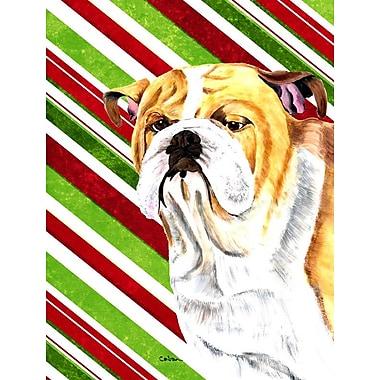 Caroline's Treasures Bulldog English Candy Cane Holiday Christmas 2-Sided Garden Flag
