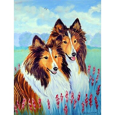 Caroline's Treasures Two Sable Shelties 2-Sided Garden Flag