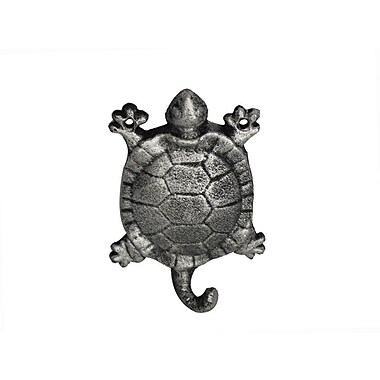 Handcrafted Nautical Decor 6'' Cast Iron Turtle Wall Hook; Rustic Silver