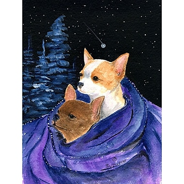Caroline's Treasures Starry Night Chihuahua House Vertical Flag