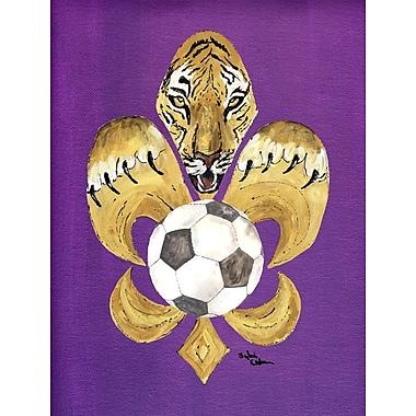 Caroline's Treasures Tiger Soccer Fleur de lis House Vertical Flag