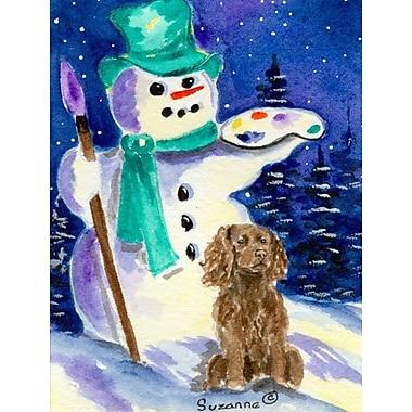 Caroline's Treasures Artist Snowman w/ Boykin Spaniel 2-Sided Garden Flag