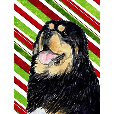 Caroline's Treasures Tibetan Mastiff Candy Cane Holiday Christmas 2-Sided Garden Flag