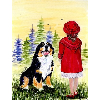 Caroline's Treasures Little Girl w/ her Bernese Mountain Dog 2-Sided Garden Flag