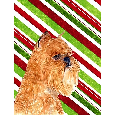 Caroline's Treasures Brussels Griffon Candy Cane Holiday Christmas 2-Sided Garden Flag