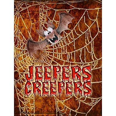 Caroline's Treasures Jeepers Creepers w/ Bat and Spider web Halloween House Vertical Flag