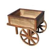 SamsGazebos Wood Wheelbarrow Planter; Brown