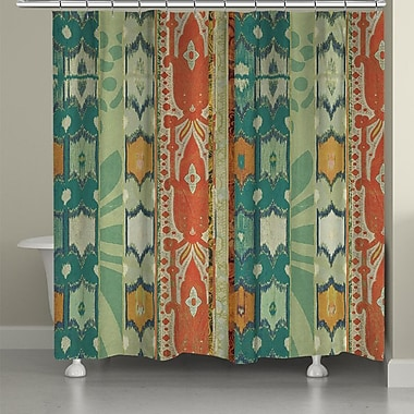 LauralHome Ikat Bloom Shower Curtain