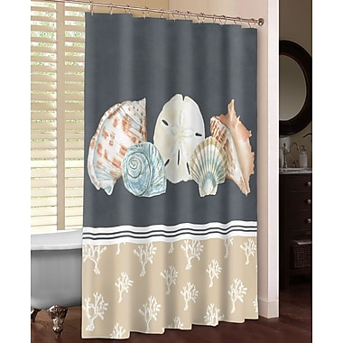 LauralHome Shells on Slate Shower Curtain