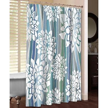 LauralHome Striped Dahlias Shower Curtain