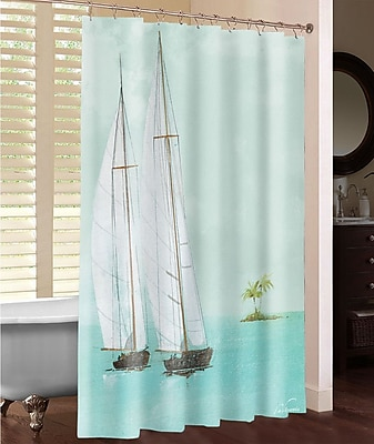 LauralHome Tropical Sailboats Shower Curtain