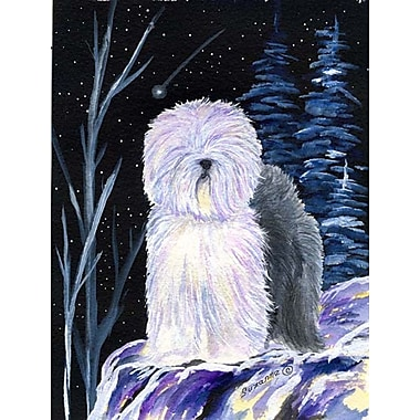 Caroline's Treasures Starry Night Old English Sheepdog House Vertical Flag