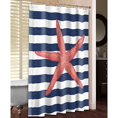 LauralHome Starfish Stripe Shower Curtain