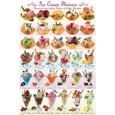 Affiche saveurs de crème glacée, 24 x 36 po