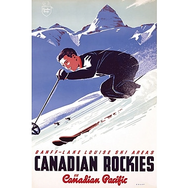 Affiche ski dans les Rocheuses canadiennes 24 x 36 po