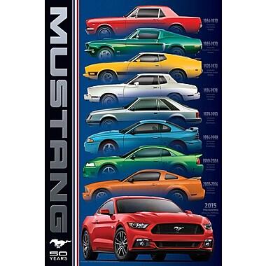 Affiche 50 ans et 9 modèles de la Ford Mustang, 24 x 36 po