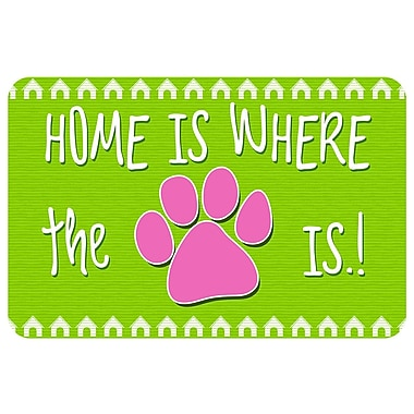 Bungalow Flooring Home Is Where The Paw Is Pet Feeder Doormat; Lime