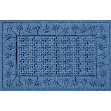 Bungalow Flooring Aqua Shield Island Palms Doormat; Medium Blue