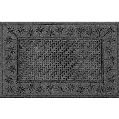 Bungalow Flooring Aqua Shield Island Palms Doormat; Charcoal